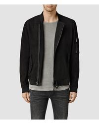 AllSaints | Black Crescent Leather Bomber Jacket for Men | Lyst