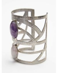 Free People | Purple Womens Caged Stone Cuff | Lyst