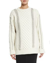 Alexander Wang - Natural Embellished Cable-knit Sweater - Lyst