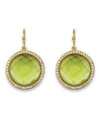 Palmbeach Jewelry - Green .42 Tcw Checkerboard-cut Simulated Peridot & Cz Halo Drop Earrings 14k Gold-plated - Lyst