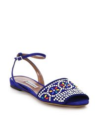 Tabitha Simmons | Blue Beaded Flat Suede Sandals | Lyst