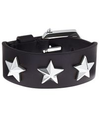 Givenchy | Black Silvertone Stars Leather Bracelet | Lyst