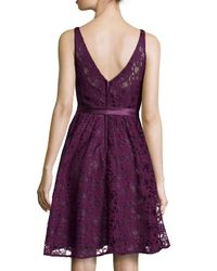 Marina | Purple Sleeveless Tie-Waist Lace Cocktail Dress | Lyst
