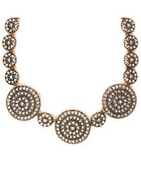 Oscar de la Renta | Metallic Gold-plated And Crystal Disk Necklace | Lyst
