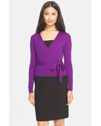Diane von Furstenberg - Purple 'ballerina' Wrap Sweater - Lyst
