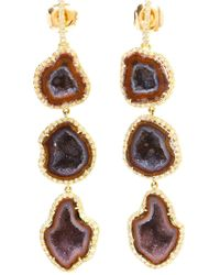 Kimberly Mcdonald - Purple 18kt Gold, Diamond And Geode Earrings - Lyst