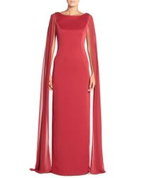 Adrianna Papell | Red Satin Column Gown With Chiffon Cape | Lyst