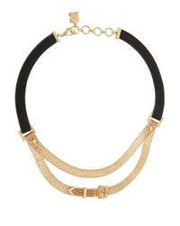 BCBGMAXAZRIA | Metallic Leatherette And Mesh Necklace | Lyst
