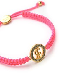 Juicy Couture | Pink Pave Jc Macrame Friendship Bracelet | Lyst