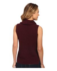 Two By Vince Camuto - Brown Sleeveless Travelling Waffle Stitch Turtleneck - Lyst