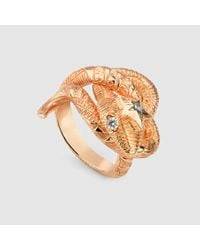 Gucci - Pink Gucci Flora Serpent Ring - Lyst