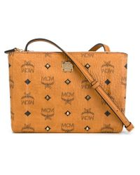 MCM - Natural Logo Print Zipped Shoulder Bag - Lyst