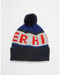 Tommy Hilfiger | Blue Fred Bobble Beanie Hat for Men | Lyst