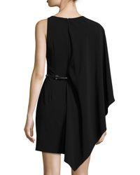 Halston - Black Flowy-sleeve Belted Dress - Lyst