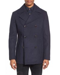 7 Diamonds | Blue 'seville' Wool Blend Double Breasted Peacoat for Men | Lyst