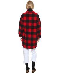 Étoile Isabel Marant - Red Plaid Wool Flannel Coat - Lyst