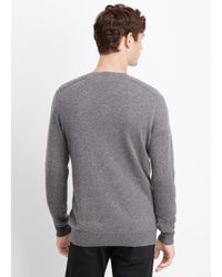Vince | Black Wool Cashmere Stitch-mix Moto Henley Sweater for Men | Lyst