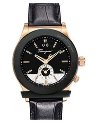 Ferragamo - Black '1898' Leather Strap Watch for Men - Lyst