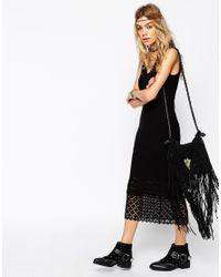 ASOS - White Crochet Midi Dress With Lace Hem - Lyst