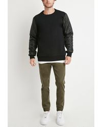 Forever 21 - Black Quilted Colorblock Sweatshirt for Men - Lyst