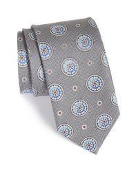 John W. Nordstrom - Gray 'aguero' Medallion Silk Tie for Men - Lyst