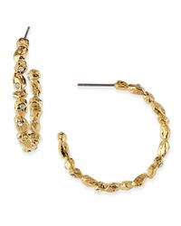Alexis Bittar - Metallic Crystal Encrusted Golden Rocky Hoop Earrings - Lyst