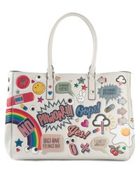 Anya Hindmarch | Red Large 'Featherweight Ebury' Stickers Tote | Lyst
