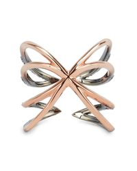Katie Rowland | Metallic Twisted Cross Ring | Lyst