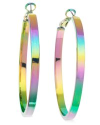 Guess - Multicolor Silver-Tone Pearlized Ab Hoop Earrings - Lyst