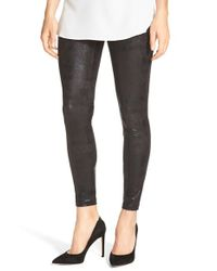 Hue | Black Shimmer Microsuede Leggings | Lyst