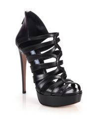 Prada   Black Caged Leather Platform Sandals   Lyst