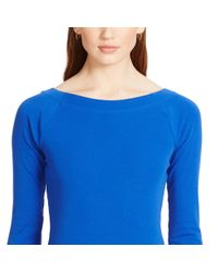 Ralph Lauren | Blue Stretch Cotton Boatneck Top | Lyst