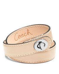 COACH - Natural Leather Double Wrap Turnlock Bracelet - Lyst