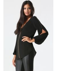 Bebe | Black Anika Billow Sleeve Top | Lyst
