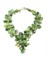 Aeravida | Serenity Green Floral Jade And Mother Of Pearl Seashells Statement Necklace | Lyst