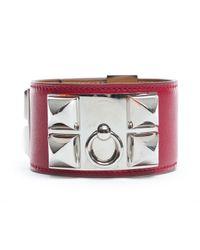 Hermès - Red Pre-owned: Leather Collier De Chien Cdc Bracelet for Men - Lyst
