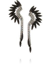 Elizabeth Cole | Black Mohawk Gunmetal-Tone Swarovski Crystal Earrings | Lyst