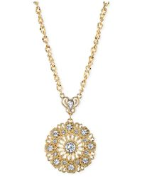 2028 - Metallic Gold-Tone Round Crystal Pendant Necklace - Lyst
