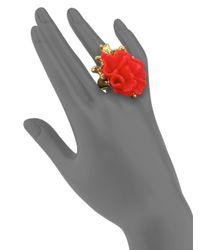 Oscar de la Renta - Red Coral Flower Cocktail Ring - Lyst