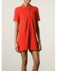 MM6 by Maison Martin Margiela - Red Polo Shirt Style Playsuit - Lyst