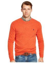 Polo Ralph Lauren - Orange Merino Crew-neck Sweater for Men - Lyst