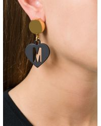 Moschino | Black M Cut Out Heart Clip-on Earrings | Lyst
