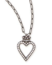 Katie Design Jewelry - Metallic Black Crowned Open Heart Charm Necklace - Lyst