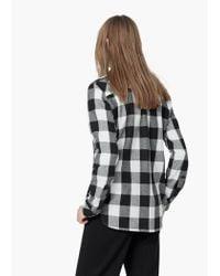 Mango | Black Check Cotton Shirt | Lyst