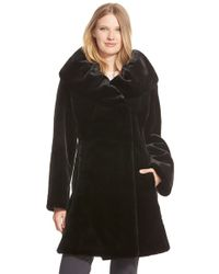 Gallery | Black Ruched Collar Faux Fur Coat | Lyst