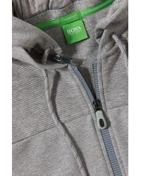 BOSS Green - Gray Hooded Sweatshirt Jacket 'skibo' In Cotton for Men - Lyst