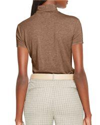 Lauren by Ralph Lauren | Brown Short Sleeve Turtleneck | Lyst