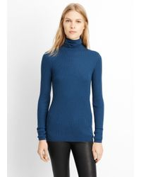 Vince | Blue Skinny Rib Turtleneck Sweater | Lyst