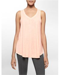 Calvin Klein | Pink White Label Performance V-neck Racerback Tank Top | Lyst