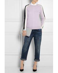 J.Crew | Purple Color-block Merino Wool Sweater | Lyst
